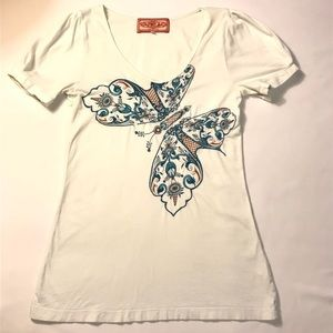 Johnny Was Los Angeles Embroidered Swoop-Neck Top